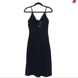Nasty Gal | US 2/UK 6 Black Front Tie Midi Dress